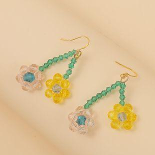 Pendientes de flores de cristal tejidos a mano lindos coreanos tendencia creativa exquisita joyería pendiente pendiente al por mayor nihaojewelry NHLA219485's discount tags