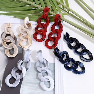 Chain geometry long acrylic and multi-layer resin retro earrings jewelry wholesale nihaojewelry NHLA219488's discount tags