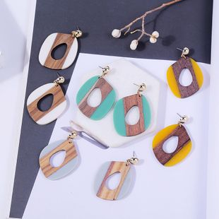 simple stitching acrylic wood earrings personality Korean resin earrings jewelry processing wholesale nihaojewelry NHLA219490's discount tags