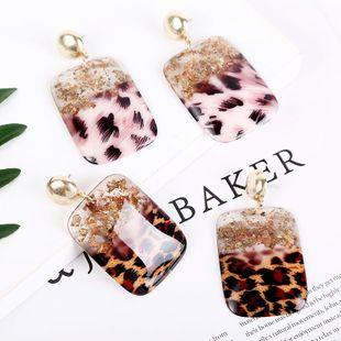 personality square geometric leopard resin acrylic earrings  gold foil trend earrings wholesale nihaojewelry NHLA219493's discount tags