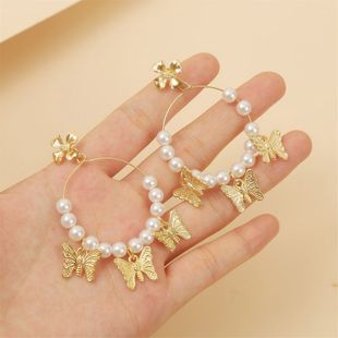 personality handmade pearl butterfly earrings popular trend insect earrings jewelry wholesale nihaojewelry NHLA219494's discount tags
