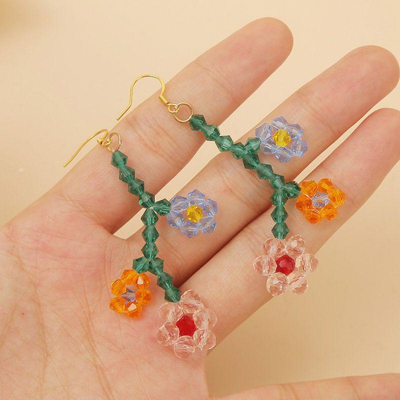 Korean cute hand-woven crystal flower earrings long temperament earring jewelry wholesale nihaojewelry NHLA219495