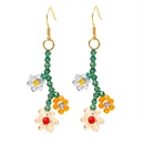 Korean cute handwoven crystal flower earrings long temperament earring jewelry wholesale nihaojewelry NHLA219495