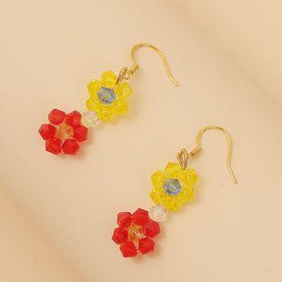925 silver Korean cute woven crystal flower earrings temperament beaded earrings jewelry wholesale nihaojewelry NHLA219497's discount tags