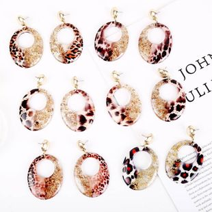 Exaggerated elliptical transparent gold foil leopard pattern resin earrings foreign trade acrylic personality earrings jewelry wholesale nihaojewelry NHLA219498's discount tags