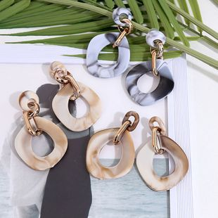 Retro geometry long chain acrylic European and American earrings exaggerated multi-layer resin earrings jewelry wholesale NHLA219499's discount tags