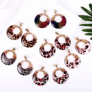 pendientes de acrílico exagerados de resina con estampado de leopardo pendientes coreanos geométricos redondos al por mayor nihaojewelry NHLA219500's discount tags