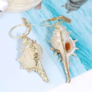 Retro exaggerated irregular long natural shell earrings trend big conch earrings jewelry wholesale nihaojewelry NHLA219505's discount tags