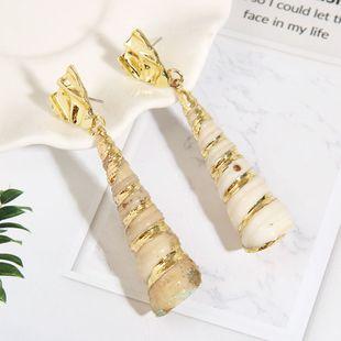Pendientes de concha naturales exagerados largos pendientes de concha geométrica de comercio exterior femenino joyería al por mayor nihaojewelry NHLA219507's discount tags