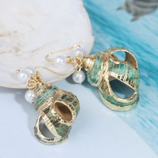 Retro exaggerated natural geometric shell earrings three-dimensional conch earrings jewelry wholesale nihaojewelry NHLA219509's discount tags