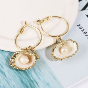 exaggerated irregular natural pearl shell earringsalloy personality geometric earrings jewelry wholesale nihaojewelry NHLA219510's discount tags