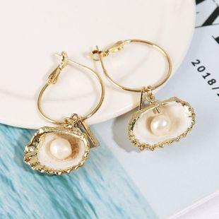 Pendientes de concha de perla natural irregular exagerada personalidad de aleación pendientes geométricos joyería al por mayor nihaojewelry NHLA219510's discount tags