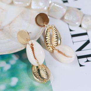 Pendientes largos de concha natural temperamento de aleación irregular creativo Pendientes coreanos joyería al por mayor nihaojewelry NHLA219512's discount tags