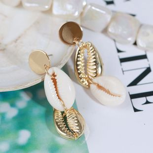 long natural shell earrings creative irregular alloy temperament Korean earrings jewelry wholesale nihaojewelry NHLA219512's discount tags