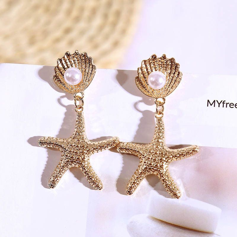 fashion retro pearl starfish geometric alloy earrings trend Korean spring and summer trend earring jewelry wholesale nihaojewelry NHLA219513