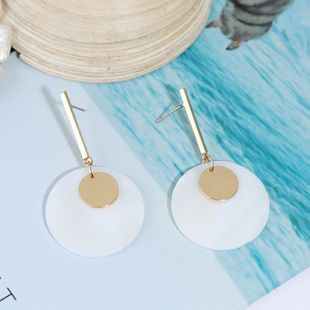 Korean-style geometric round alloy shell earrings fashion trend wholesale nihaojewelry NHLA219514's discount tags