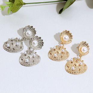 Retro trend geometric pearl alloy earrings ocean wind metal earrings jewelry wholesale nihaojewelry NHLA219516's discount tags