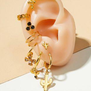 Pendientes exagerados de moda nuevos pendientes de clip chapados en oro para damas callejera de moda pendientes cruzados de moda al por mayor nihaojewelry NHOT220198's discount tags