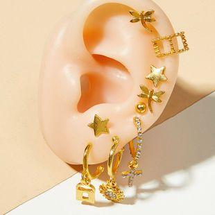 Pendientes de clip de estrella de animal de moda clip de oreja de mujer pendientes de cristal chapados en oro para mujer pendientes de cruz de moda para mujer NHOT220196's discount tags