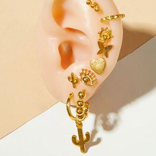 Pendientes de clip de moda Pendientes chapados en oro, conjunto de combinación para mujer, tiro callejero, pendientes de ojo de diablo, clip de oreja al por mayor, nihaojewelry NHOT220189's discount tags