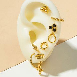 Moda simple estilo de moda nuevos pendientes cruzados chapados en oro damas femeninas pendientes de moda callejera conjunto nihaojewelry al por mayor NHOT220207's discount tags