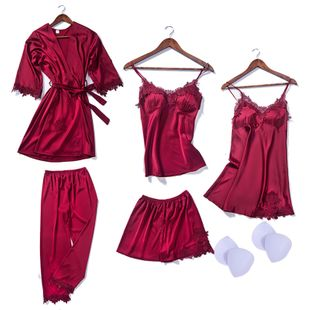 simulation silk pajamas with chest pad sling skirt flower nightgown embroidery short hanging nine points trousers ladies six-piece suit wholesale nihaojewelry NHMR219534's discount tags