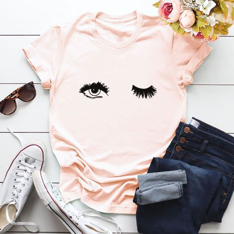 charming eyes cotton comfortable multi-color short-sleeved T-shirt wholesale nihaojewelry NHSN219554's discount tags