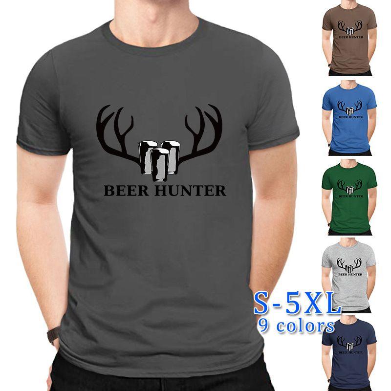 fashion men's T-shirt  cotton comfortable short-sleeved t-shirt men tide I love drinking beer wholesale nihaojewelry NHSN219569