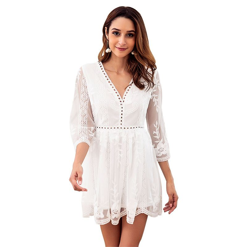 summer new lace dresses fashion Vneck sexy womens dress wholesale nihaojewelry NHKA219608