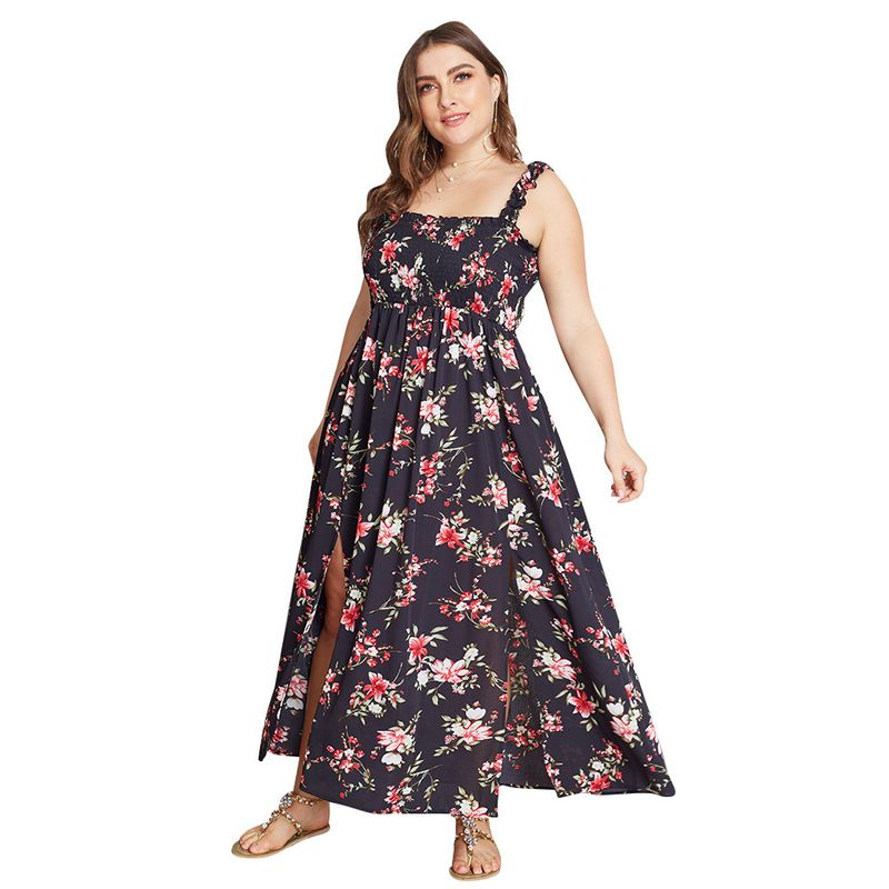 fashion womens plus size dress hot sale summer floral dress wholesale nihaojewelry NHKA219627
