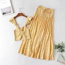 tirantes impresos elsticos top traje de falda de encaje de cintura alta al por mayor nihaojewelry NHAM219655