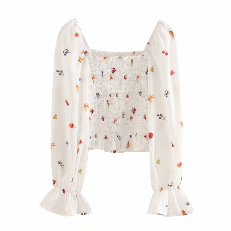 new trend early summer new product square collar long-sleeved small floral print shirt shirt wholesale nihaojewelry NHAM219725