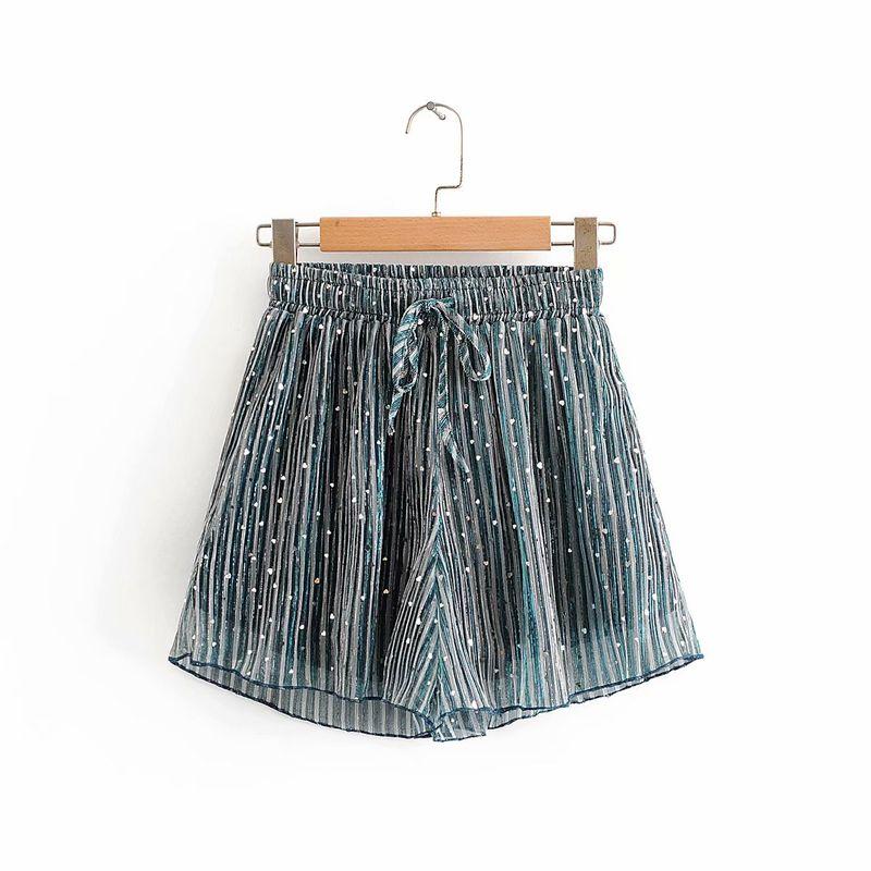 summer new loose straight straight wide leg elastic waist sequined chiffon casual pants wholesale nihaojewelry NHAM219781