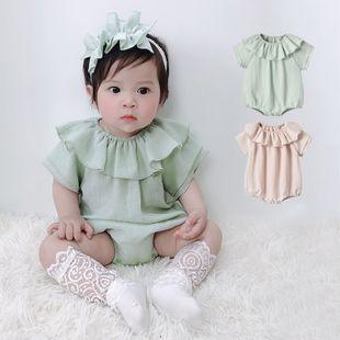 verano nuevo 0-2 años bebé niña princesa viento lotus leaf collar triángulo de manga corta al por mayor nihaojewelry NHTV219850's discount tags