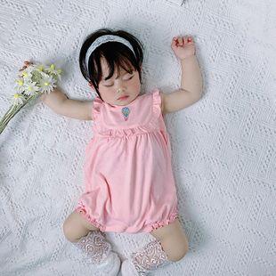 Verano nuevo bebé de 0-2 años bebé coreano moda dulce lindo rosa blanco punto chaleco bata al por mayor nihaojewelry NHTV219853's discount tags