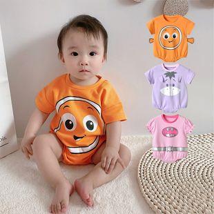 Verano nuevo bebé de impresión de dibujos animados hombres y mujeres bebé coreano casual triángulo de manga corta al por mayor nihaojewelry NHTV219860's discount tags
