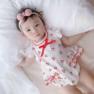 verano nueva niña bebé 0-2 años de edad dulce cereza dulce impresión cómoda bata al por mayor nihaojewelry NHTV219876's discount tags