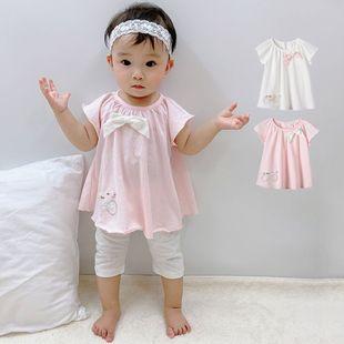Ropa de bebé de verano niñas de manga corta chaqueta suelta coreana estilo de las señoras bordado bebé camiseta al por mayor nihaojewelry NHTV219879's discount tags