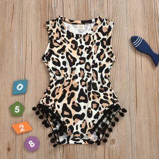 Venta caliente Niñas Leopard Pullover Briefs Apretar Outwear Ropa para niños Sin mangas Siameses Ropa al por mayor nihaojewelry NHYB219890's discount tags