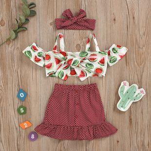Baby Girl Un hombro Sandía Imprimir Top Wavelet Falda corta Turbante Conjunto de tres piezas al por mayor nihaojewelry NHYB219891's discount tags