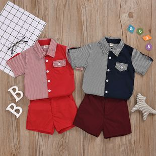 camisa de manga corta de un solo pecho pantalones cortos a rayas de color a juego traje de caballero punto de dos colores al por mayor opcional nihaojewelry NHYB219895's discount tags