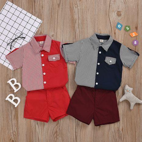 short chemise à manches courtes simple boutonnage rayé correspondant à la couleur gentleman costume spot bicolore en option en gros nihaojewelry NHYB219895's discount tags