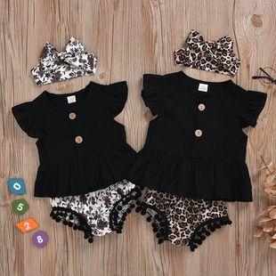 ropa para niños niña pequeña camisa de manga corta negra triángulo de leopardo pantalones cortos de tres piezas al por mayor nihaojewelry NHYB219902's discount tags
