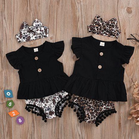 vêtements pour enfants fille infantile noir chemise à manches courtes short léopard triangle trois pièces en gros nihaojewelry NHYB219902's discount tags