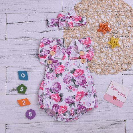 vêtements pour enfants loisirs pour enfants tendance mignon petit triangle floral hawaii turban deux pièces fille explosion en gros nihaojewelry NHYB219904's discount tags