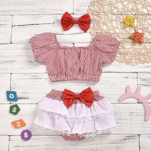vestido de niño de arco de moda conjunto princesa pequeña ropa para niños al por mayor nihaojewelry NHYB219905's discount tags