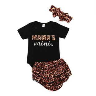 estilo carta impresa camiseta negra top estampado de leopardo pantalones cortos turbante niño traje de tres piezas al por mayor nihaojewelry NHYB219909's discount tags