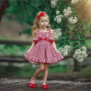 Vestidos para niñas verano nuevo estilo encaje rojo a cuadros honda princesa vestido ropa para niños al por mayor nihaojewelry NHYB219910's discount tags