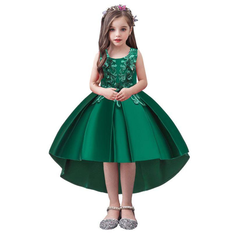 supply girl trailing dress skirt children dress pettiskirt flower girl wedding gown wholesale nihaojewelry NHTY219917