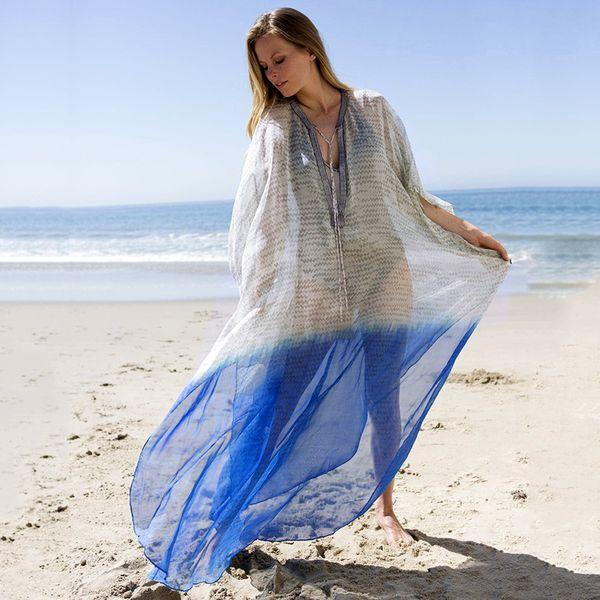 new chiffon loose large size blouse beach long skirt robe-style holiday skirt bikini blouse wholesale nihaojewelry NHXW219919
